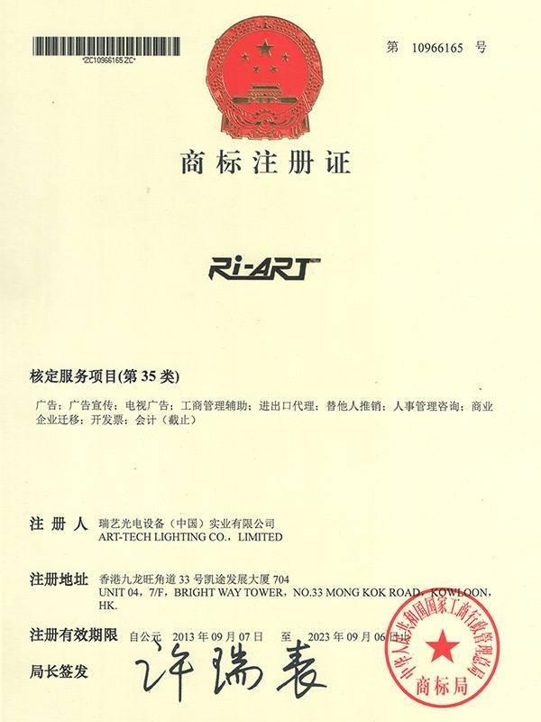 Trademark registration certificate 1